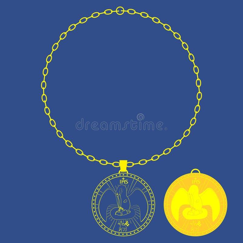 Corrente da medalha Pelicano divino Símbolo sagrado do cristão ilustração stock