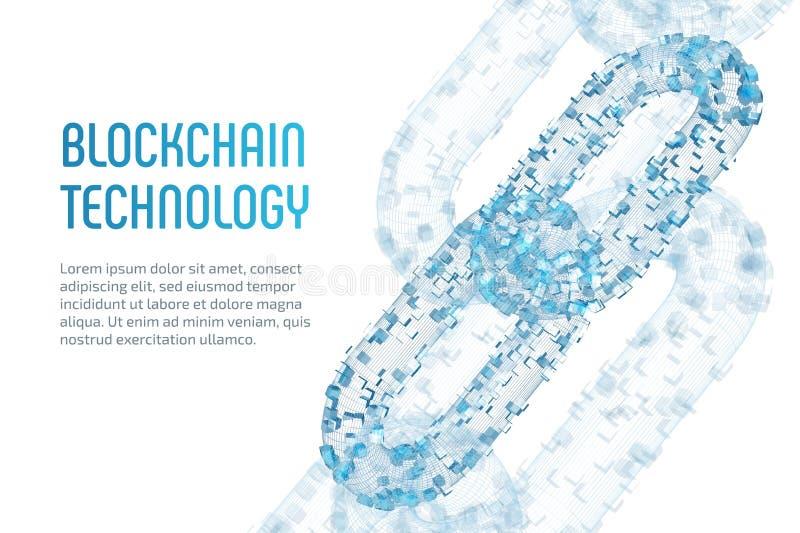 Corrente de bloco Moeda cripto Conceito de Blockchain corrente do wireframe 3D com blocos digitais Cryptocurrency editável ilustração royalty free