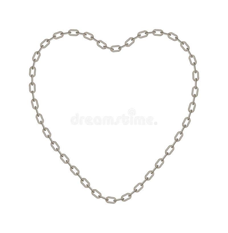 Corrente de prata na fôrma do coração ilustração do vetor