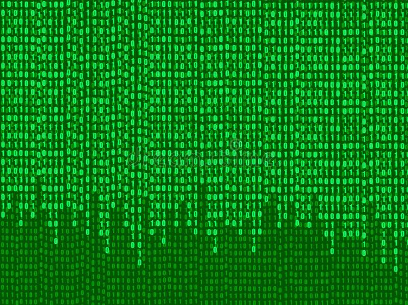 Corrente dei numeri di codice binario, fondo di tecnologia, illustrazione brillante di vettore dello schermo verde royalty illustrazione gratis