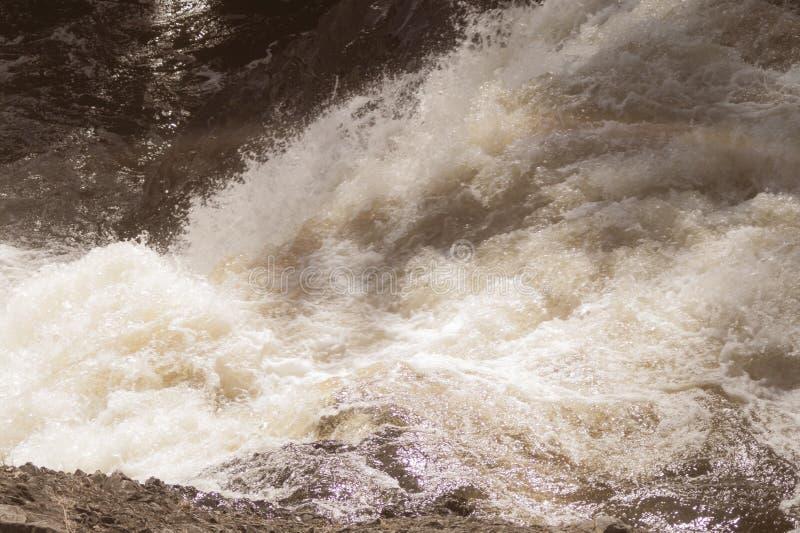 Corrente dell'acqua con schiuma acqua di fiume di caduta Flusso della cascata Priorit? bassa astratta dell'acqua fotografia stock libera da diritti