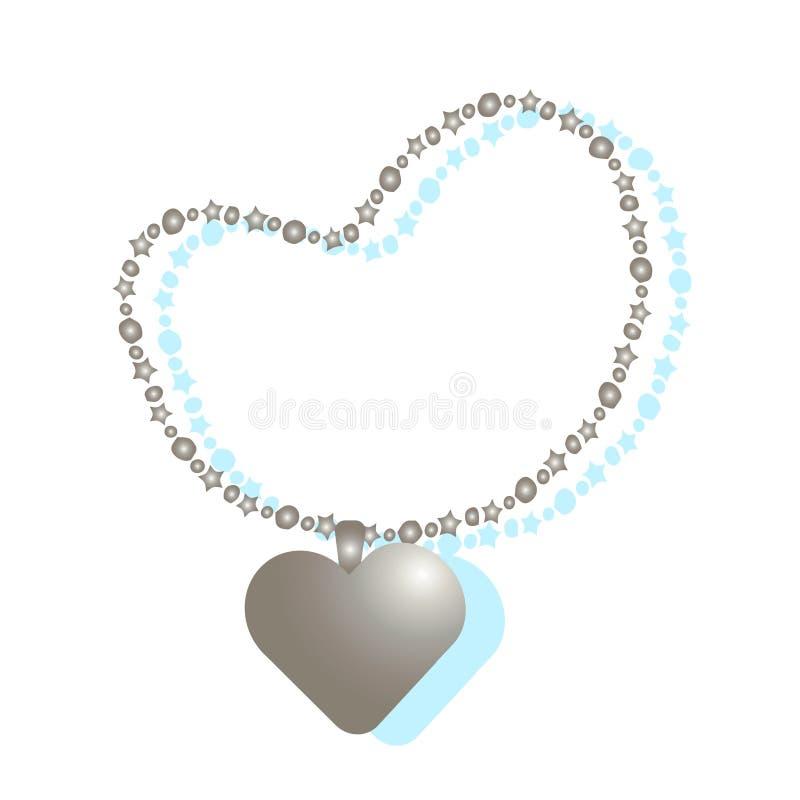 Corrente do ouro das mulheres com uma corrente coração-dada forma ilustração stock