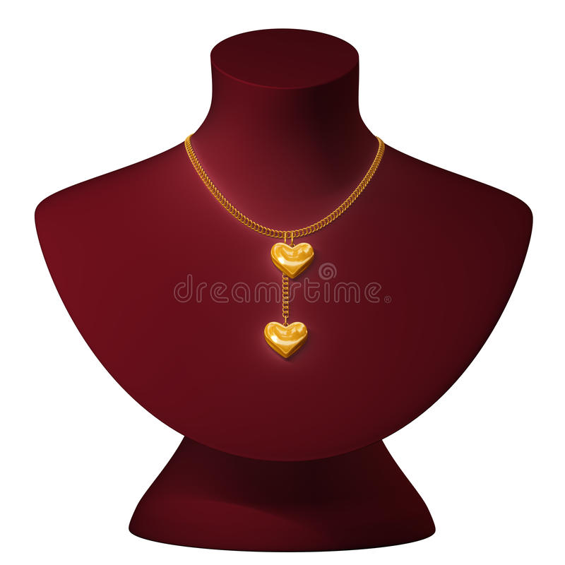 Corrente do ouro em um peito ilustração do vetor