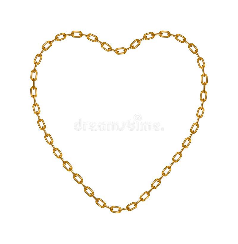 Corrente do ouro na forma do coração ilustração royalty free