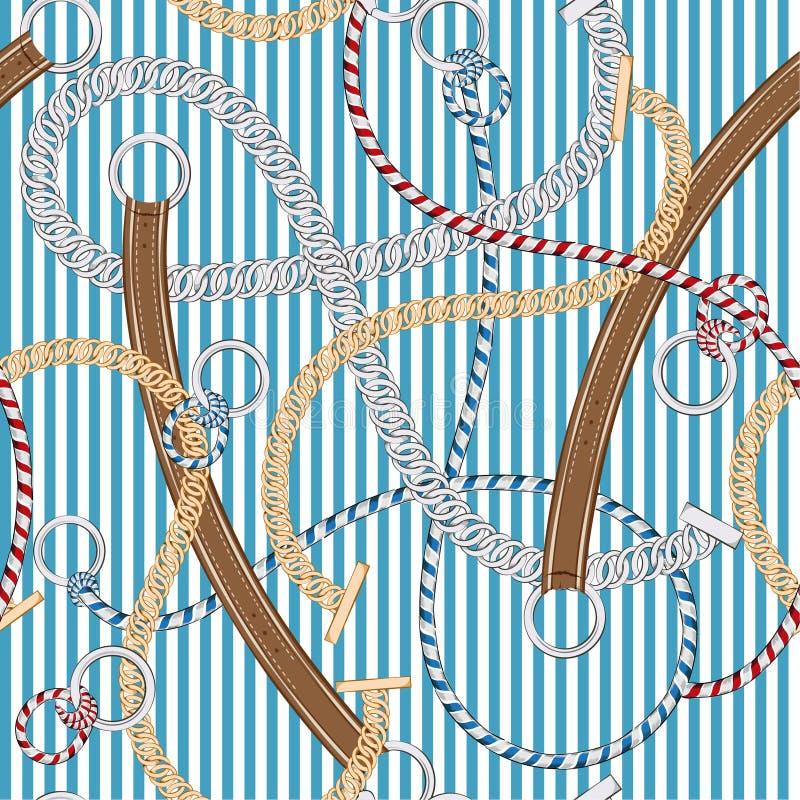 Corrente do teste padrão sem emenda bonito, correia, e cordas de prata do verão na listra do verão no vetor na moda e original ilustração stock