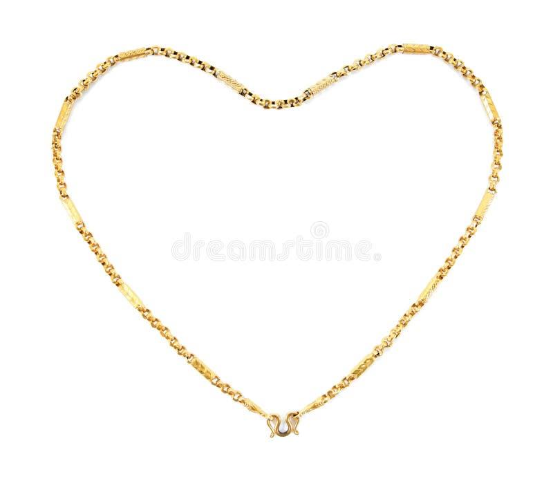 Corrente dourada da joia da forma do coração isolada no fundo branco foto de stock royalty free
