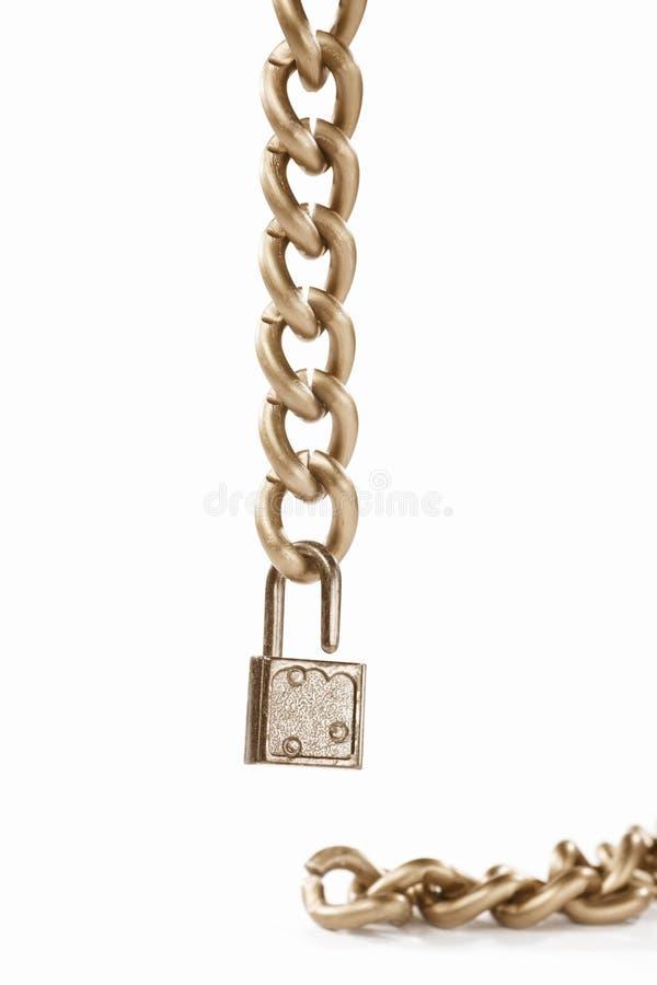 Corrente e cadeado de suspensão fotografia de stock