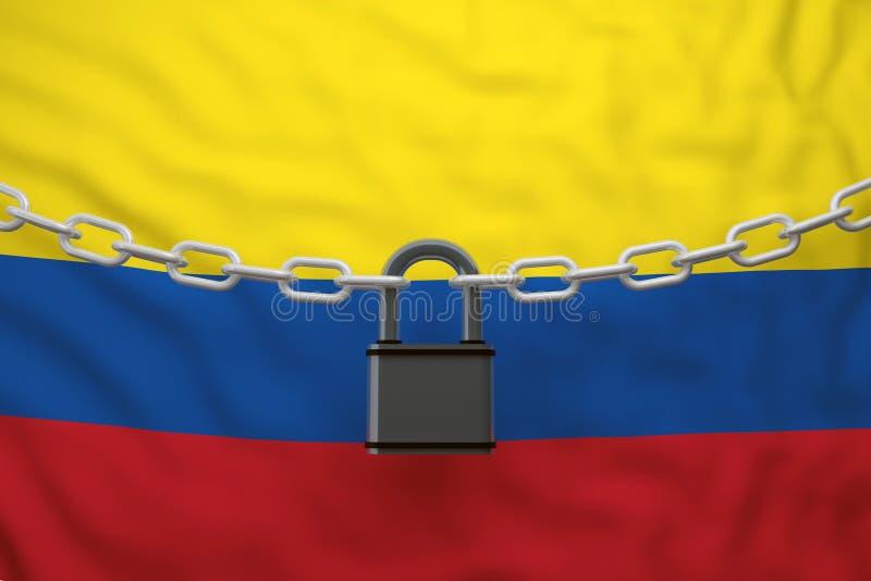 Corrente fechado da bandeira de Colômbia com cadeado ilustração stock