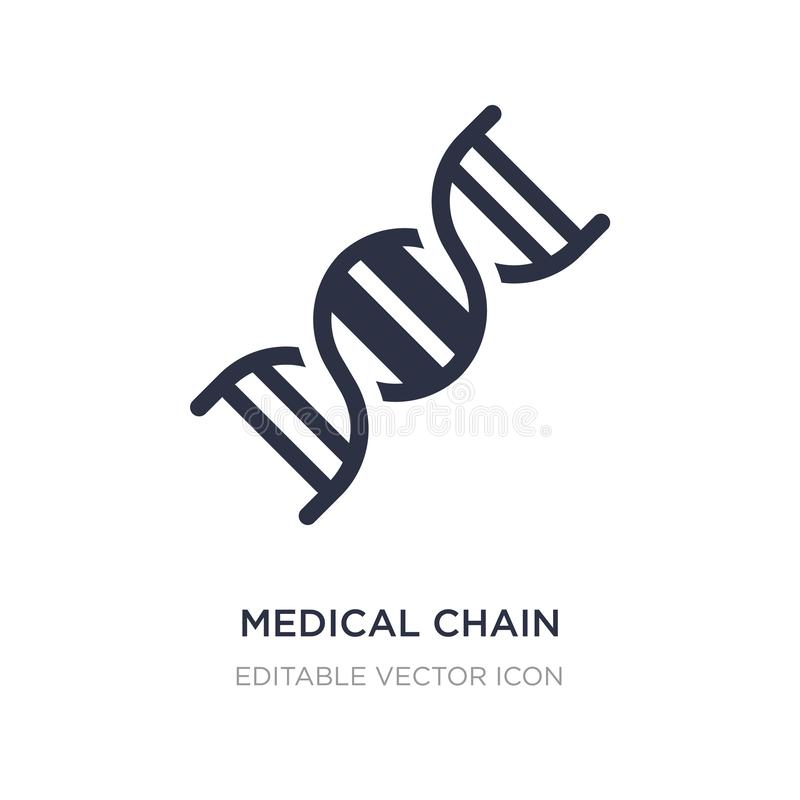 corrente médica do ícone do ADN no fundo branco Ilustração simples do elemento do conceito médico ilustração royalty free