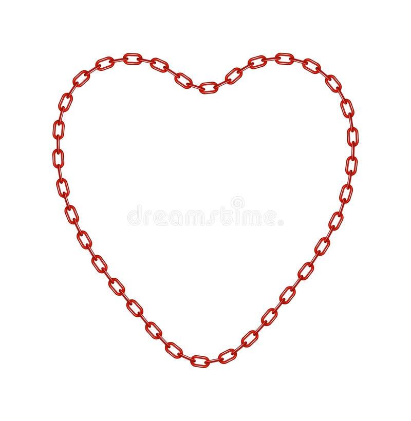 Corrente vermelha na forma do coração ilustração royalty free