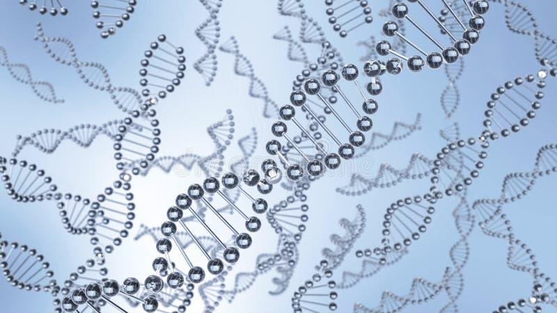 Correntes das moléculas do ADN que flutuam na água ilustração do vetor