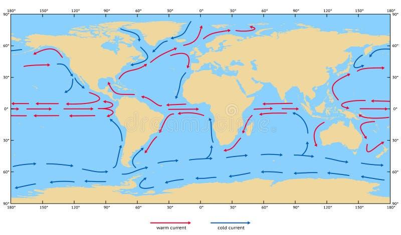 Correntes de superfície do oceano ilustração royalty free