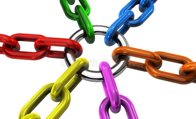 Correntes dos trabalhos de equipa do negócio no conceito diferente das cores ilustração do vetor