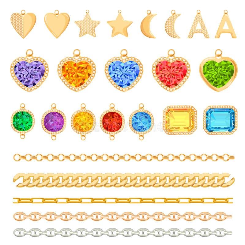 Correntes douradas, pedras preciosas preciosas, grupo dos diamantes Acessórios da joia, encantos, brincos, elementos da forma e g ilustração royalty free