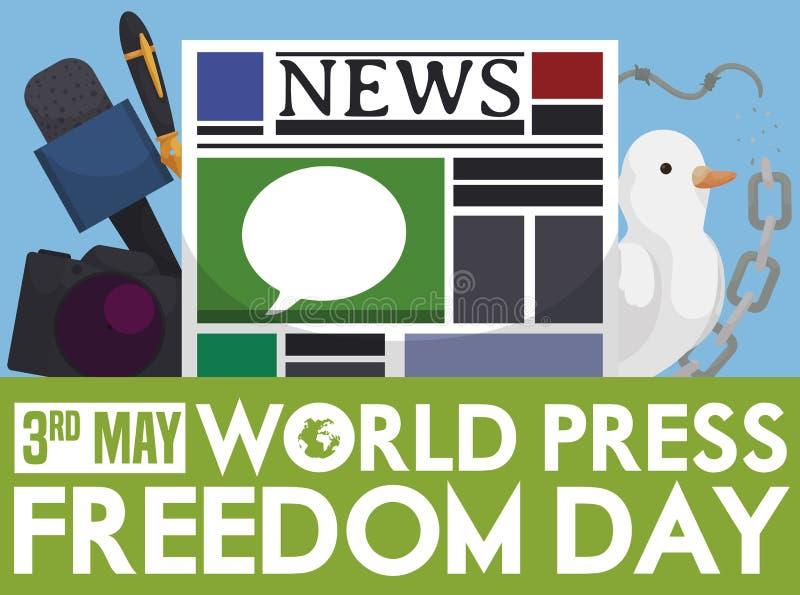 Correntes, pomba e mass media quebrados para o dia da liberdade de imprensa, ilustra??o do vetor ilustração stock