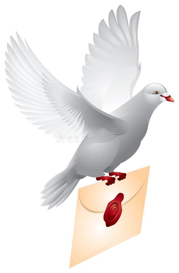 Correo de la paloma, paloma que vuela libre illustration