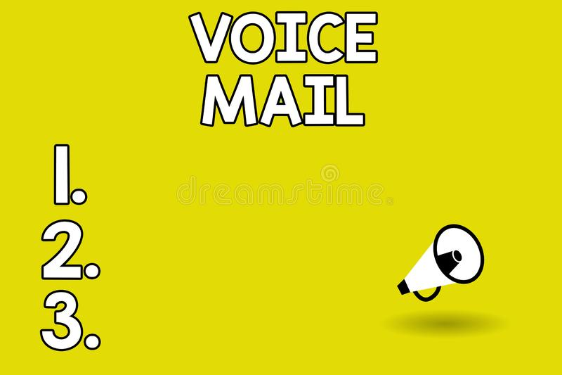Correo de voz del texto de la escritura de la palabra Concepto del negocio para el sistema electrónico que almacena mensajes de v libre illustration