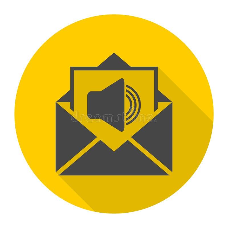 Correo de voz, símbolo del Presidente, icono audio del mensaje con la sombra larga ilustración del vector