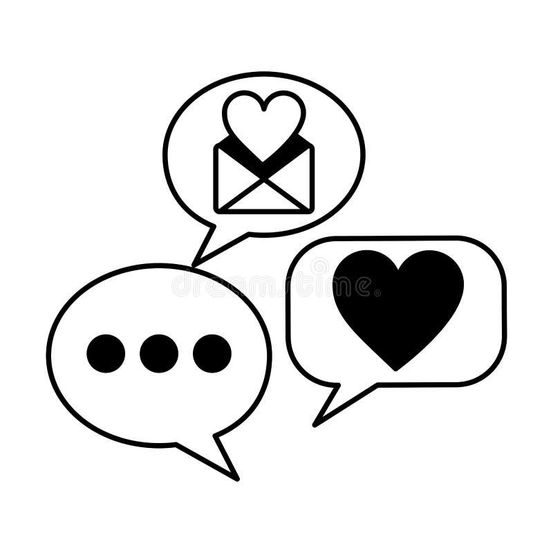 Correo del sobre con los corazones y la burbuja del discurso ilustración del vector