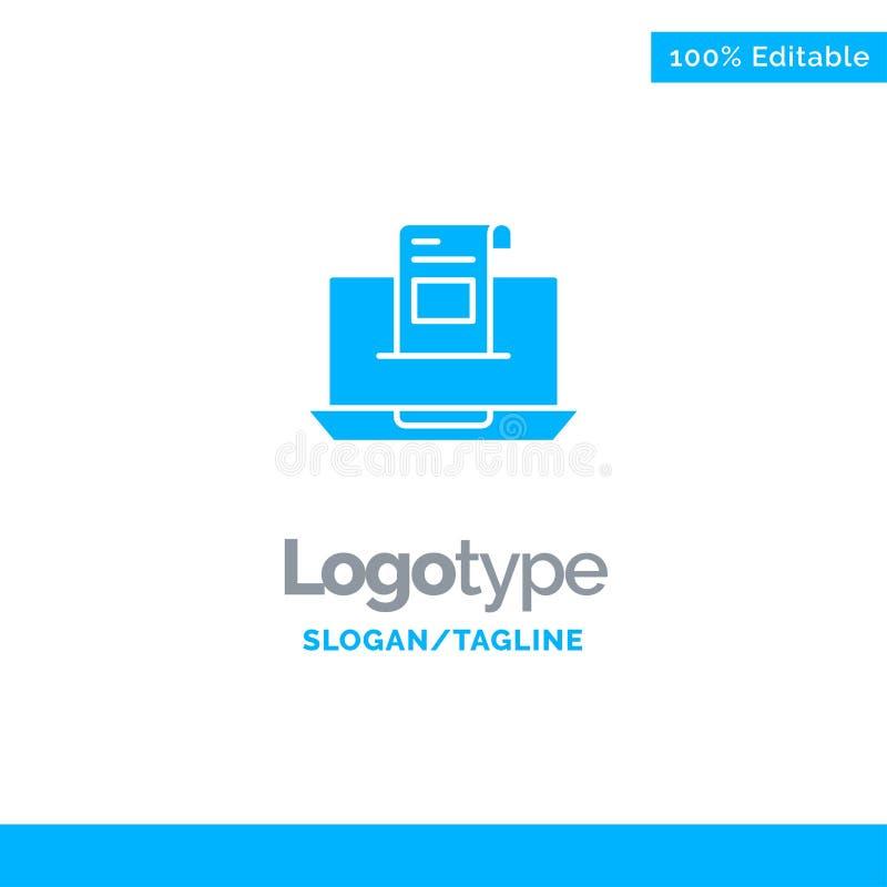 Correo electrónico, comunicación, correos electrónicos, sobre, letra, correo, mensaje Logo Template sólido azul Lugar para el Tag ilustración del vector