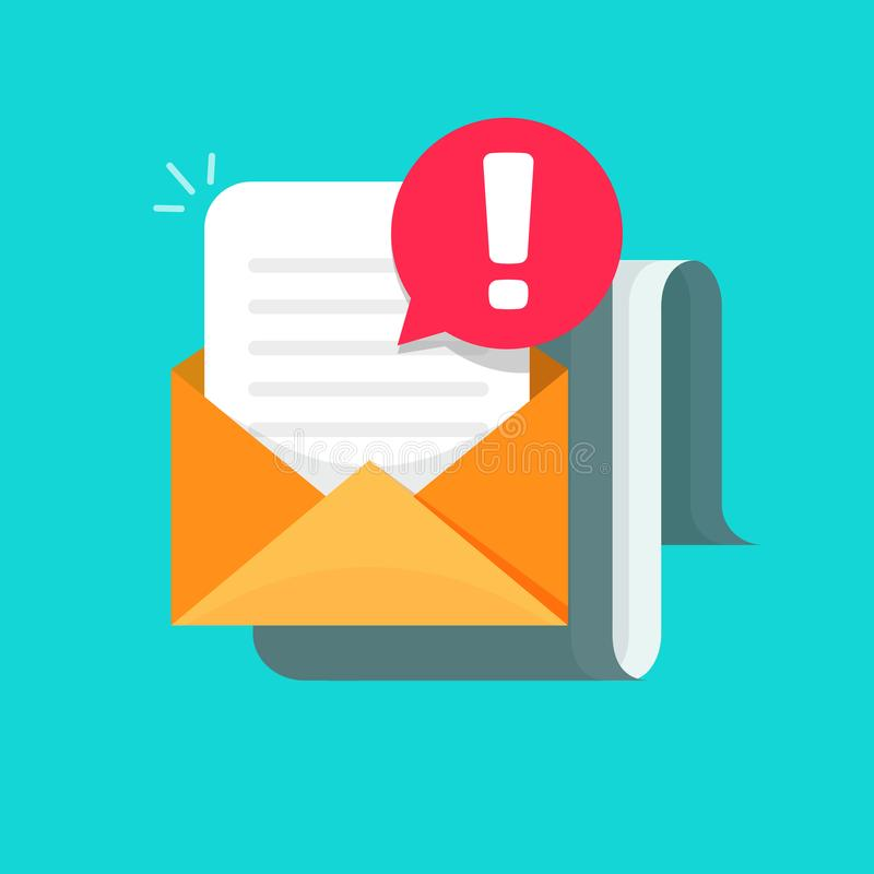 Correo electrónico con el cuidado del ejemplo alerta del vector del icono, del correo plano del sobre de la historieta con el doc stock de ilustración