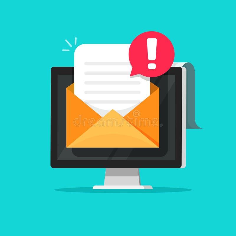 Correo electrónico con Spam o ejemplo del vector de la alarma del error, documento plano de la letra del sobre de la pantalla de  ilustración del vector