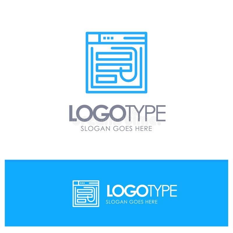 Correo electrónico, corte, Internet, contraseña, phishing, web, esquema azul Logo Place de la página web para el Tagline stock de ilustración