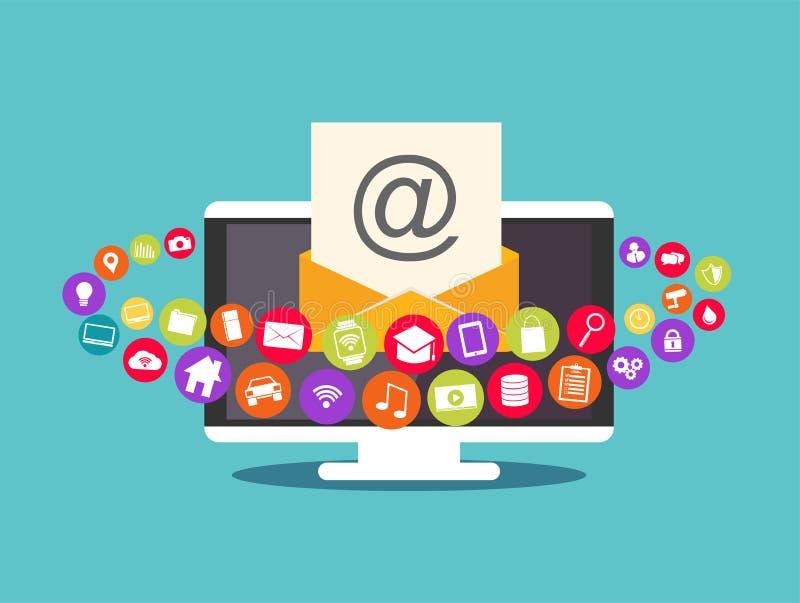 Correo electrónico de las multimedias Márketing del correo electrónico Contenido del correo electrónico ilustración del vector