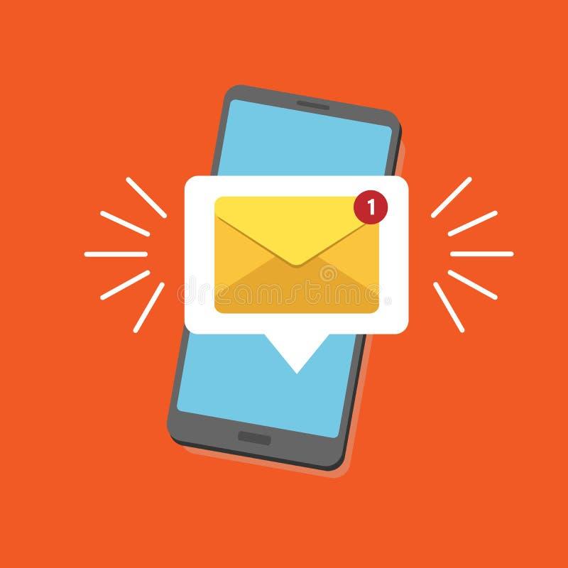 Correo electrónico de notificación Unread Nuevo mensaje en la pantalla del smartphone Ilustración del vector Alarma amarilla del  ilustración del vector