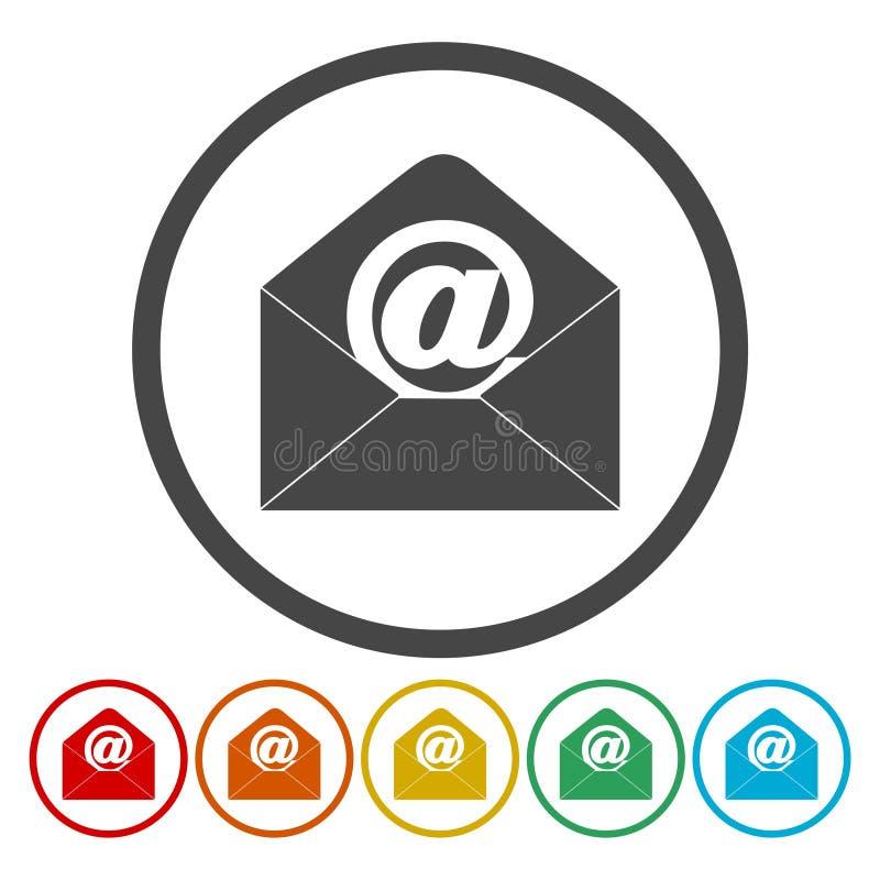Correo electrónico, icono de Internet, iconos del vector fijados stock de ilustración