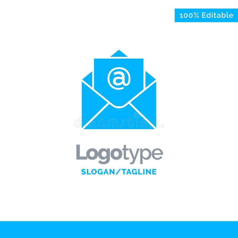 Correo electrónico, correo, Logo Template sólido azul abierto Lugar para el Tagline ilustración del vector