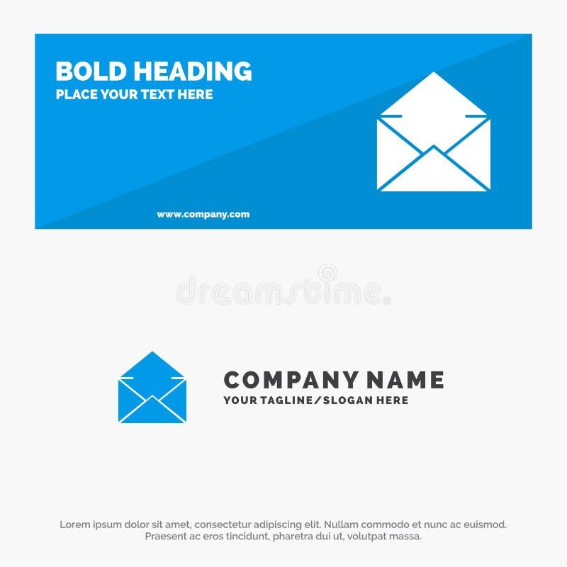Correo electrónico, correo, mensaje, bandera sólida abierta y negocio Logo Template de la página web del icono ilustración del vector