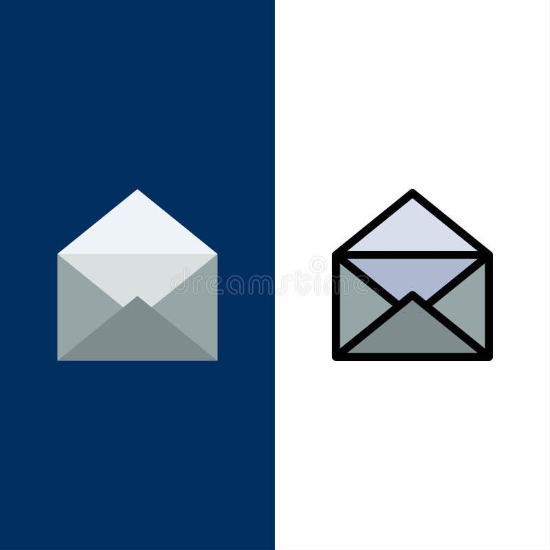 Correo electrónico, correo, mensaje, iconos abiertos El plano y la línea icono llenado fijaron el fondo azul del vector libre illustration