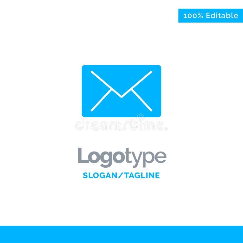 Correo electrónico, correo, mensaje Logo Template sólido azul Lugar para el Tagline stock de ilustración