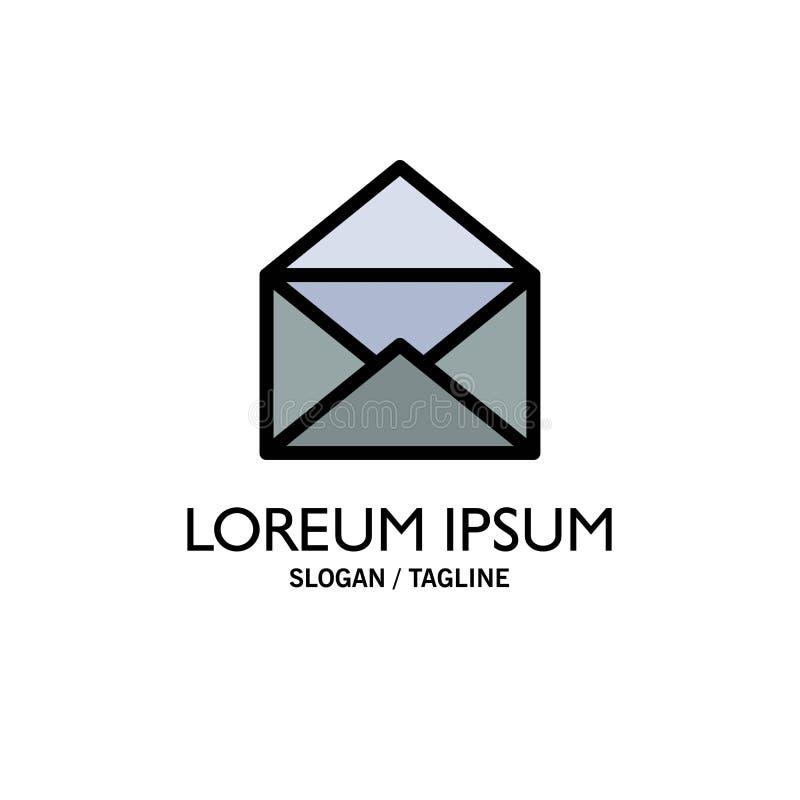 Correo electrónico, correo, mensaje, negocio abierto Logo Template color plano ilustración del vector