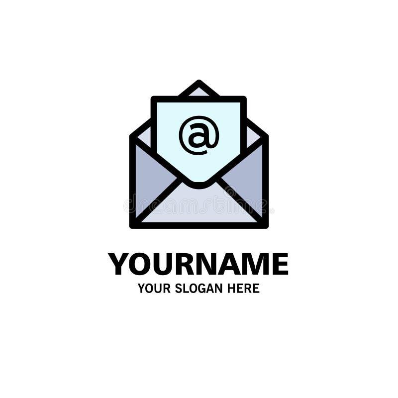 Correo electrónico, correo, negocio abierto Logo Template color plano stock de ilustración