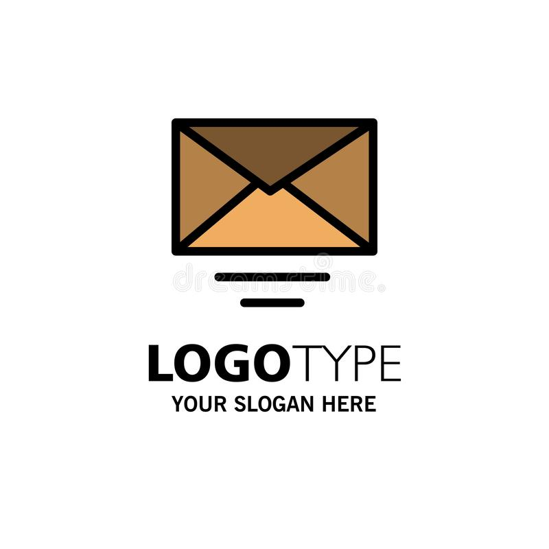 Correo, correo electrónico, negocio Logo Template del texto color plano stock de ilustración