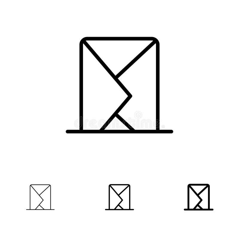 Correo electrónico, sobre, correo, mensaje, enviado línea negra intrépida y fina sistema del icono stock de ilustración