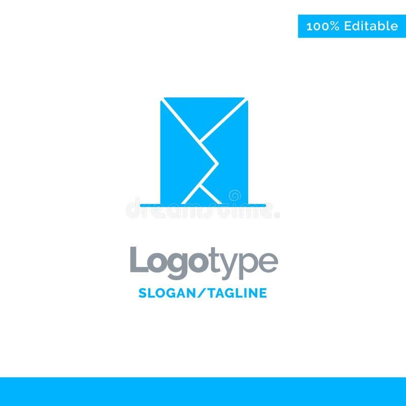 Correo electrónico, sobre, correo, mensaje, enviado Logo Template sólido azul Lugar para el Tagline stock de ilustración