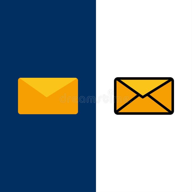 Correo, correo electrónico, usuario, iconos del interfaz El plano y la línea icono llenado fijaron el fondo azul del vector ilustración del vector
