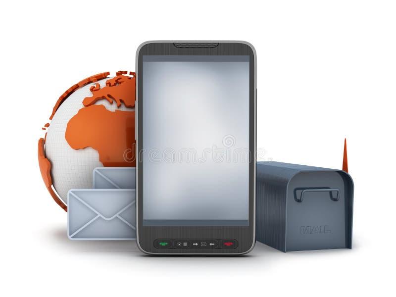 Correo en el teléfono celular - ejemplo del concepto ilustración del vector