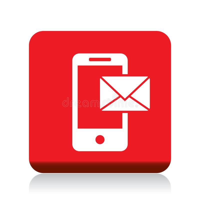 Correo en icono móvil stock de ilustración