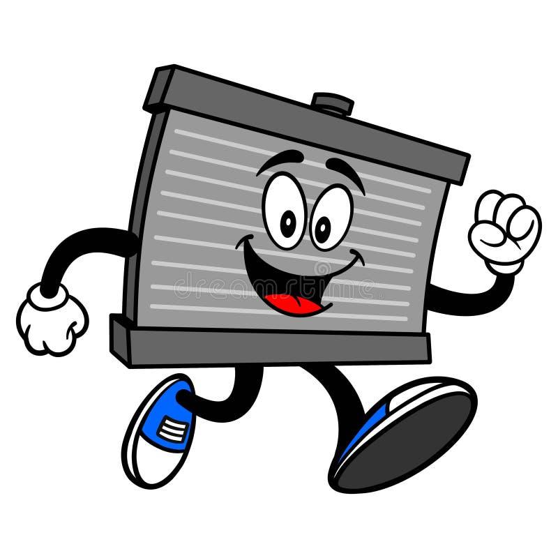 Correre della mascotte del radiatore illustrazione vettoriale