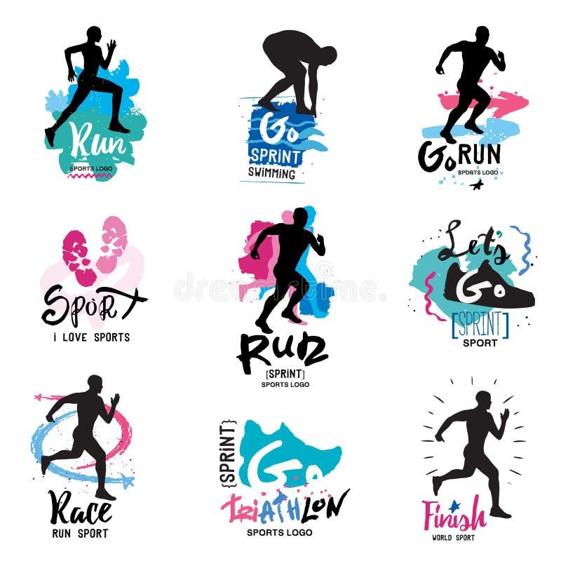 Correre, maratona, logo di triathlon ed illustrazioni immagini stock libere da diritti