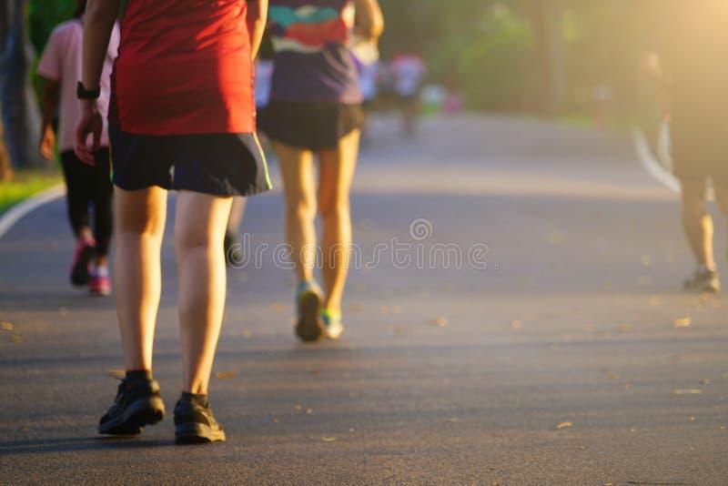 Correre pareggiante di esercizio della gente e camminare sulla via al parco di aria aperta fotografie stock libere da diritti