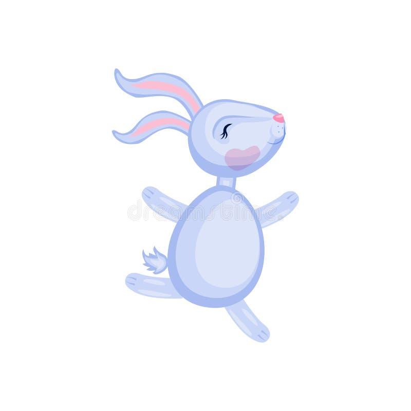 Correre sveglio del coniglio di vettore del fumetto isolato sulla lepre bianca e variopinta dell'illustrazione, animale domestico illustrazione vettoriale