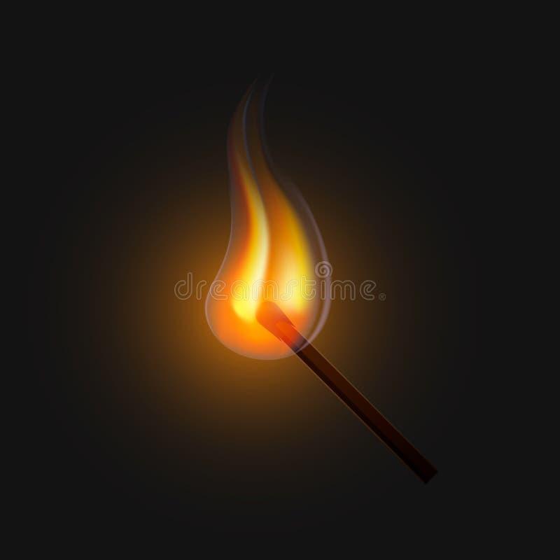 Correspondance brûlante sur un fond noir illustration stock
