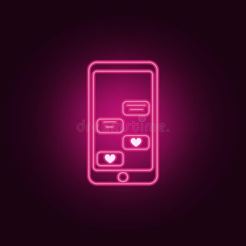 correspondance d'amour par l'icône de téléphone Éléments de Valentine dans les icônes au néon de style Icône simple pour des site illustration libre de droits
