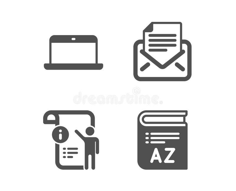 Correspondance d'ordinateur portable, de courrier et ic?nes de Doc. de manuel Signe de vocabulaire Vecteur illustration stock