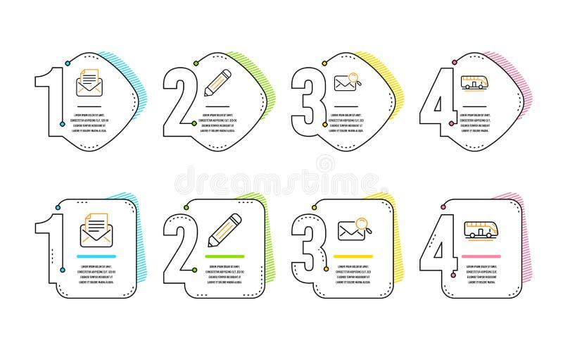 Correspondance de crayon, de courrier et ensemble d'ic?nes de courrier de recherche Signe de visite d'autobus Vecteur illustration libre de droits